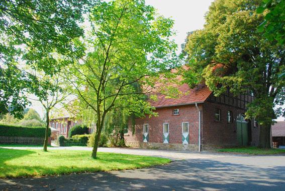 Links Rasen mit Bäumen, rechts Außenansicht eines verklinkerten Gebäudes, einstöckig jedoch mit großem Spitzdach.