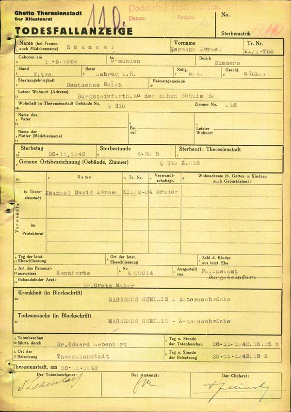 Vordruck mit maschinellen Eintragungen und drei Unterschriften an der Unterseite auf gelbem Papier.