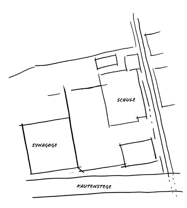 Skizze der Umrisse der Synagoge und Schule an der Kautenstege.