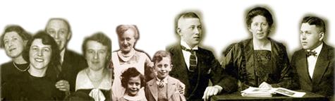 Zehn Personen, die schwarz-weißen Bilder sind nebeneinander zugeschnitten. Zwei Kinder, ansonsten Erwachsene.