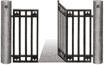 Geöffnetes Eisentor, auf den Säulen links und rechts sind im oberen Teil Davidssterne.