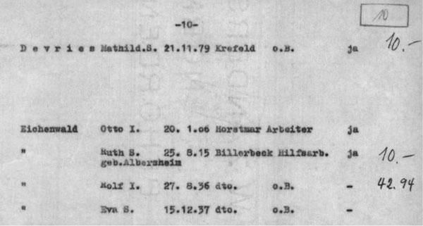 Schreibmaschinendokument mit handschriftlichen Zahlen.
