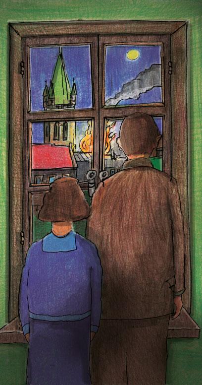 Zeichnung eines Paares das durch ein Fenster auf ein in Flammen-stehendes Gebäude sehen. Neben dem brennenden Gebäude ein Gebäude mit rotem Dach, im Hintergrund ein Kirchturm mit grünem Dach.
