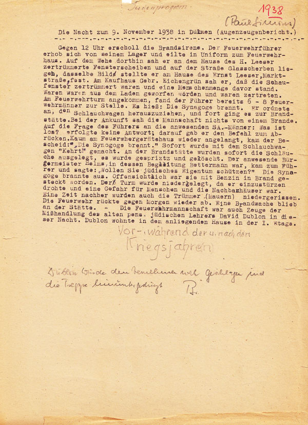 Schreibmaschinendokument auf gelblichem Papier mit einigen handschriftlichen Kommentaren.