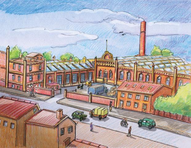 Gemaltes Bild mehrerer roter Fabrikgebäude, im Hintergrund ein Schornstein, vorne eine Straße mit Autos, einem Fahrrad und Fußgängern. Am unteren Rand mehrstöckige Gebäude.