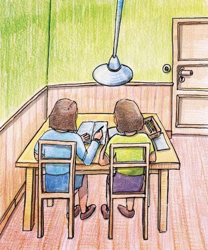 Zwei Kinder sitzen in einer farbigen Zeichnung an einem Tisch in einem grünen Zimmer unter einer Lampe und schreiben in ein Heft.