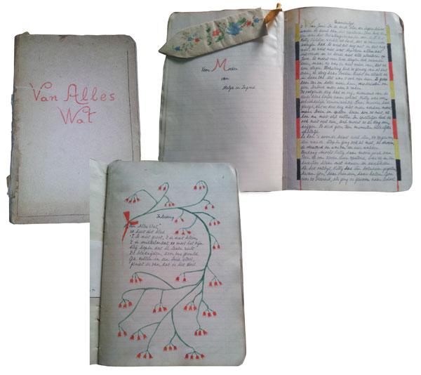 Mehrere Seiten aus einem Heft mit farbiger Schrift und Verzierungen.