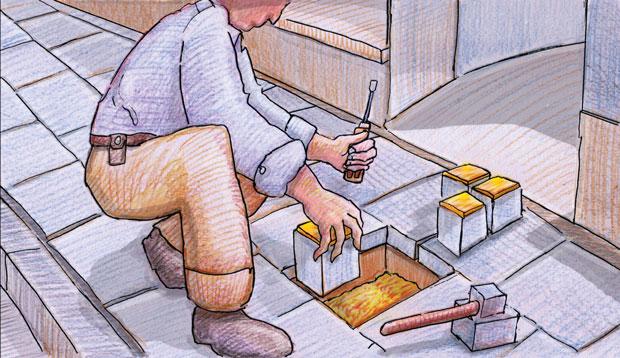 Zeichnung von Gunter Demnig wie er Stoplersteine in ein vorbereitetes Loch einsetzt. In der linken Hand ein Schraubenzieher, in der rechten einen der vier Stolpersteine. Daneben ein Hammer.