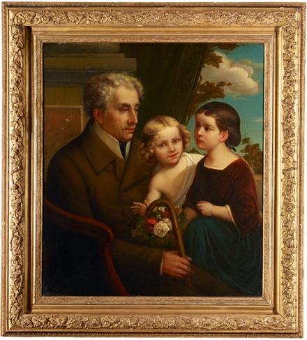 In einem Goldrahmen gefasstes Gemälde mit Alexander Haindorf und seinen Enkelkindern Agnes und Robert Loeb, die auf dem Schoß des Großvaters sitzen. Agnes hält Blumen in der Hand.